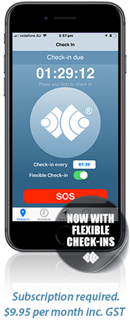 tracertrak safeworker app. now with flexible check-ins. subscription required. $9.95 per month inc gst