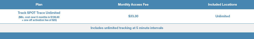 plan tracertrak spot trace unlimited. monthly access fee $33. included locations unlimited.