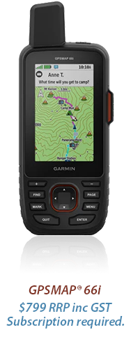 GPSMAP® 66i. $799 rrp inc gst. subscription required.